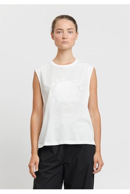 Светло серая блуза с белым принтом