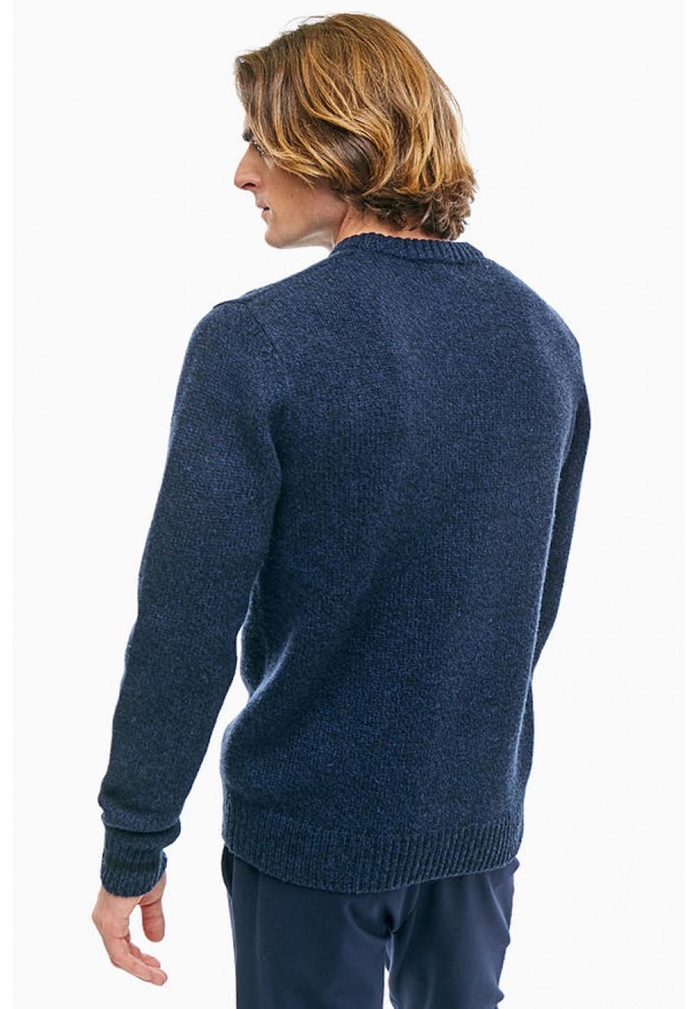 Полушерстяной синий джемпер