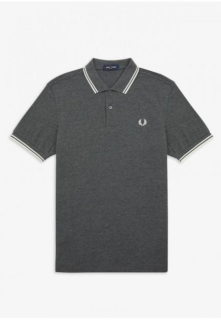 Серая футболка-поло с логотипом