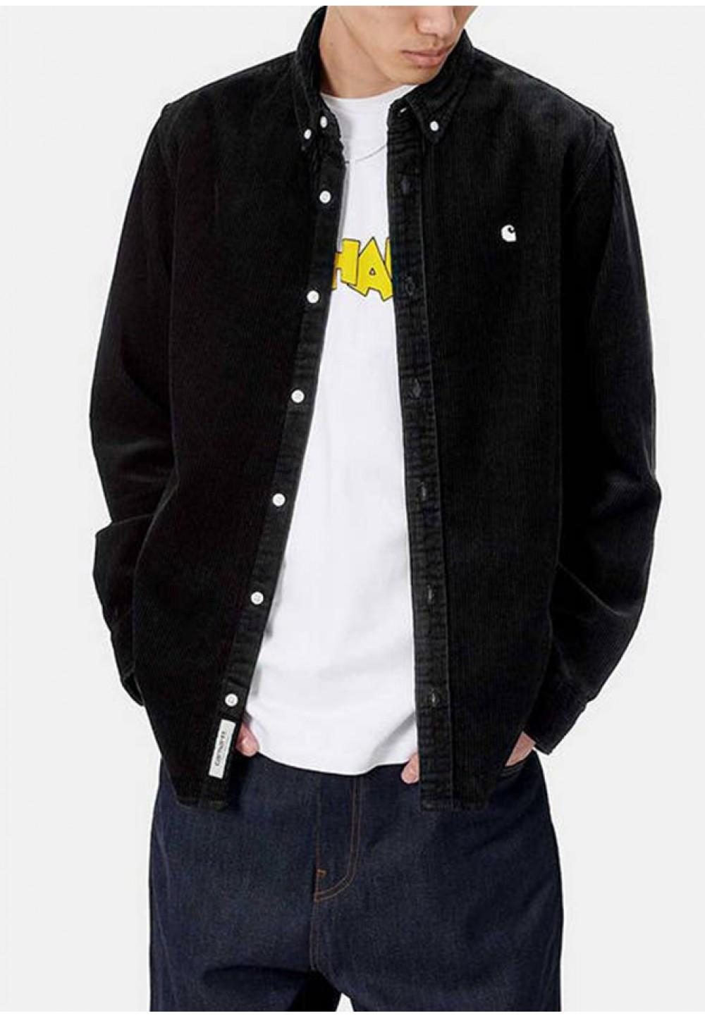 Черная стильная рубашка с вышитым логотипом