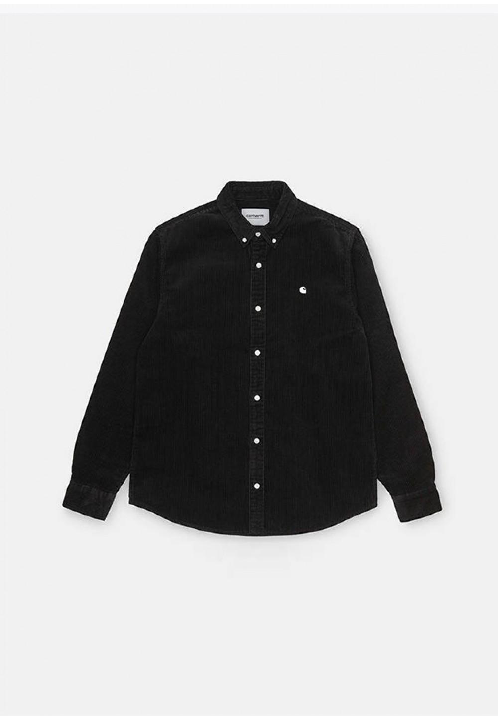 Чорна стильна сорочка з вишитим логотипом