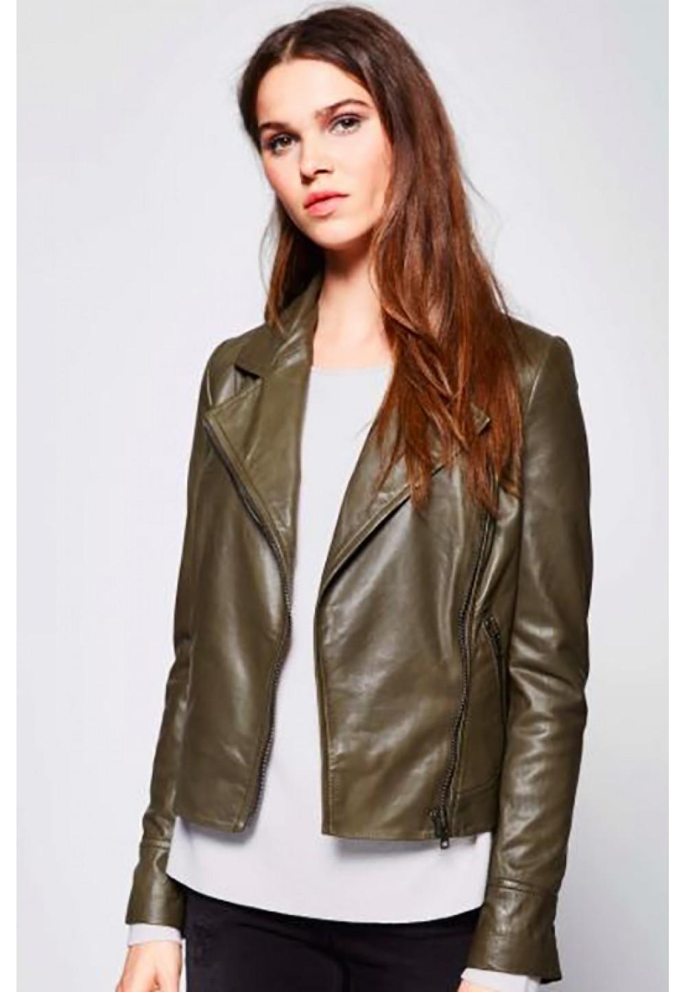 Кожаная оливковая куртка