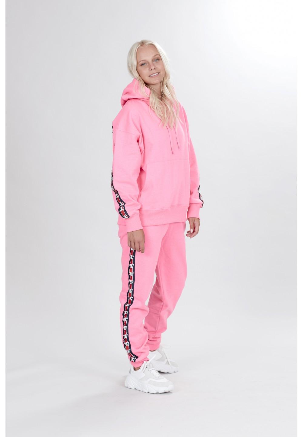 Розовое худи с капюшоном на шнурках
