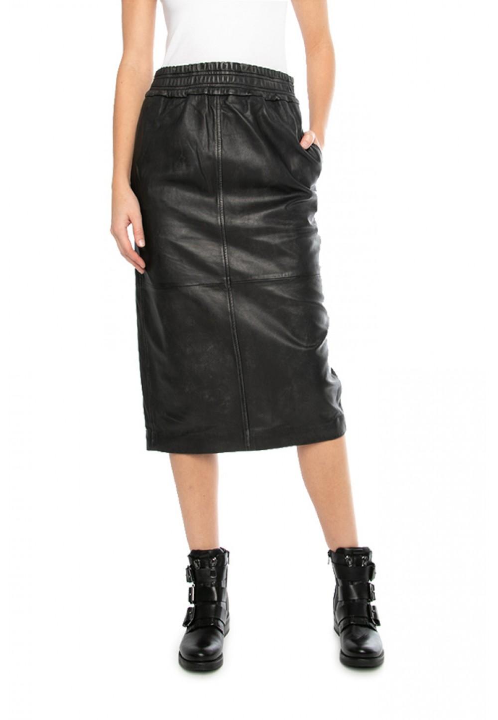 Кожаная юбка с эластичным поясом
