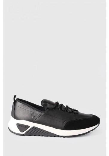 Кожані чорні кросовки