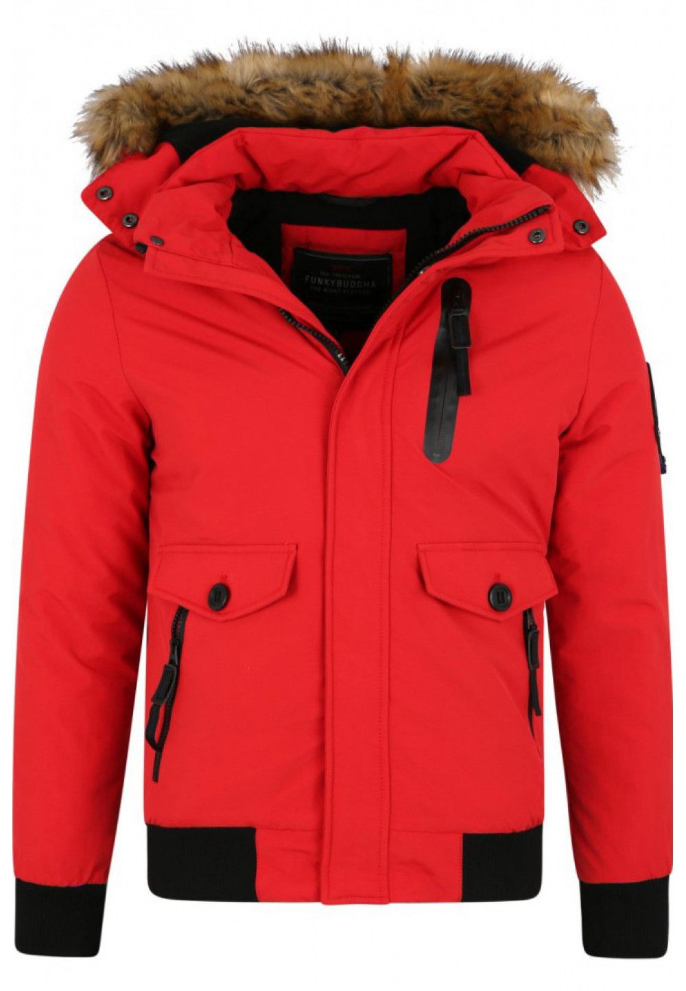 Красная куртка со съемным капюшоном