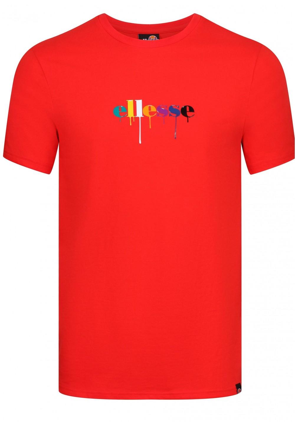 Червона футболка з різнобарвним принтом