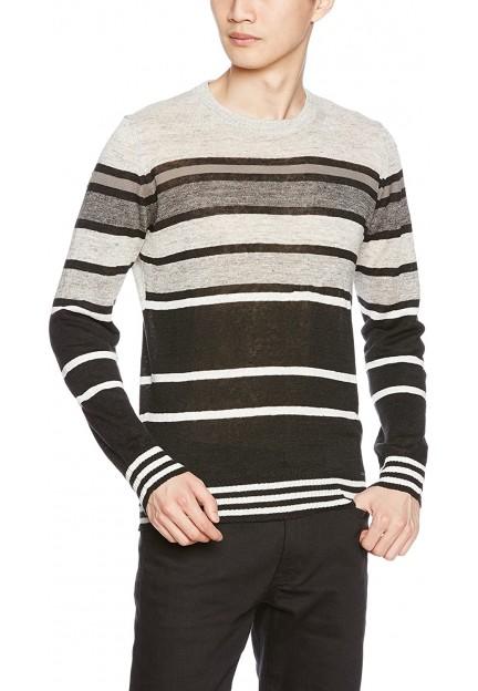 Серый пуловер в полоску