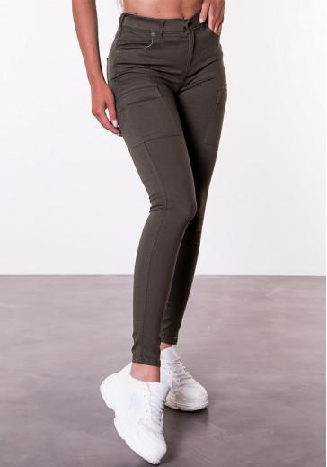 Стильні вузькі штани кольору хакі