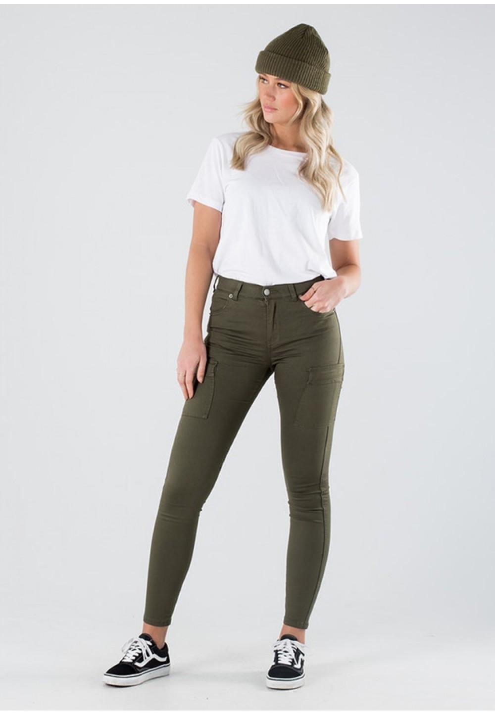 Стильные узкие брюки цвета хаки