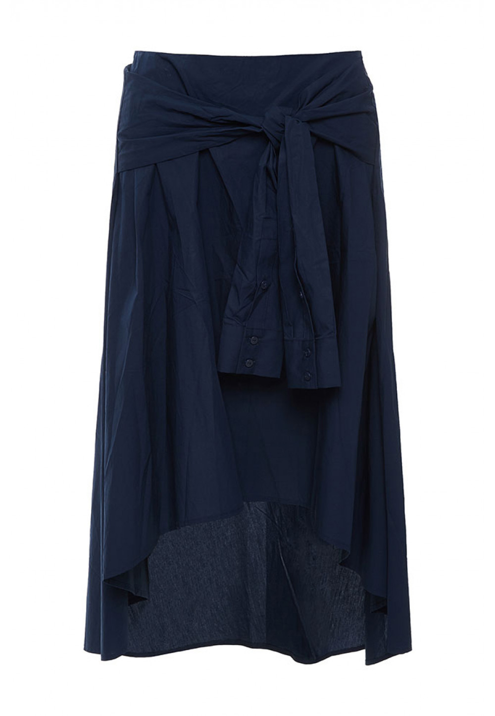 Асимметричная темно-синяя юбка