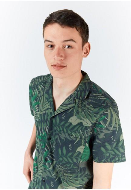 Рубашка с тропическим рисунком