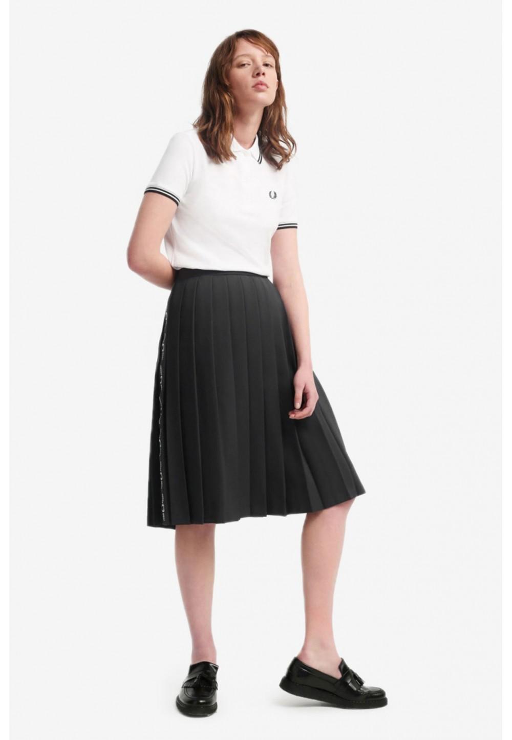 Черная юбка миди с лампасами