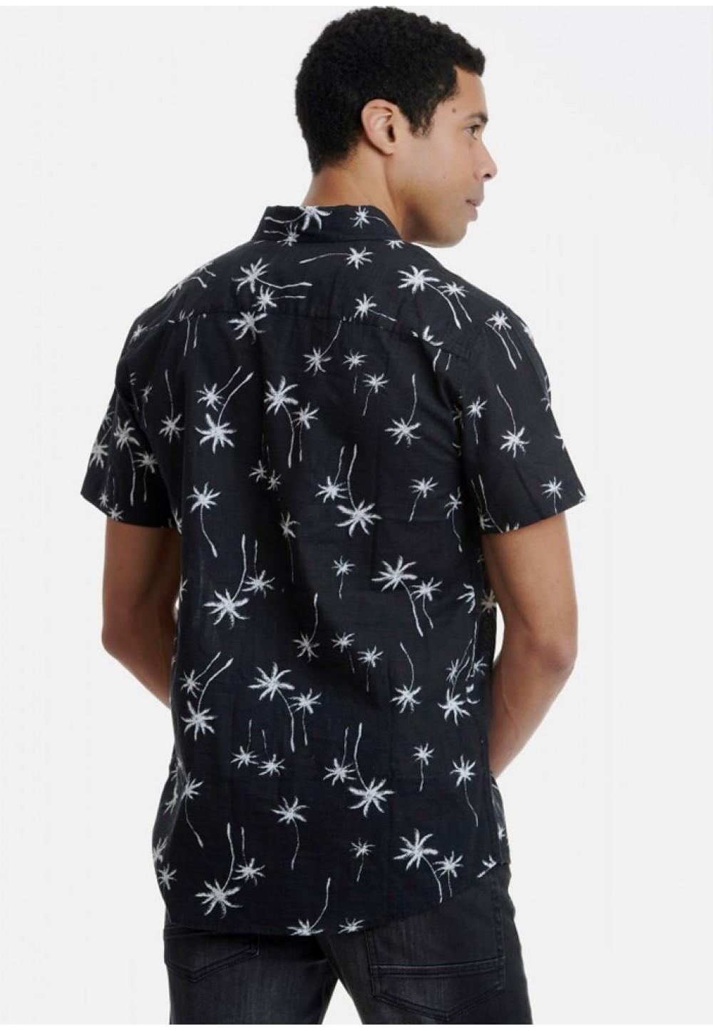 Рубашка черная с принтом пальмы