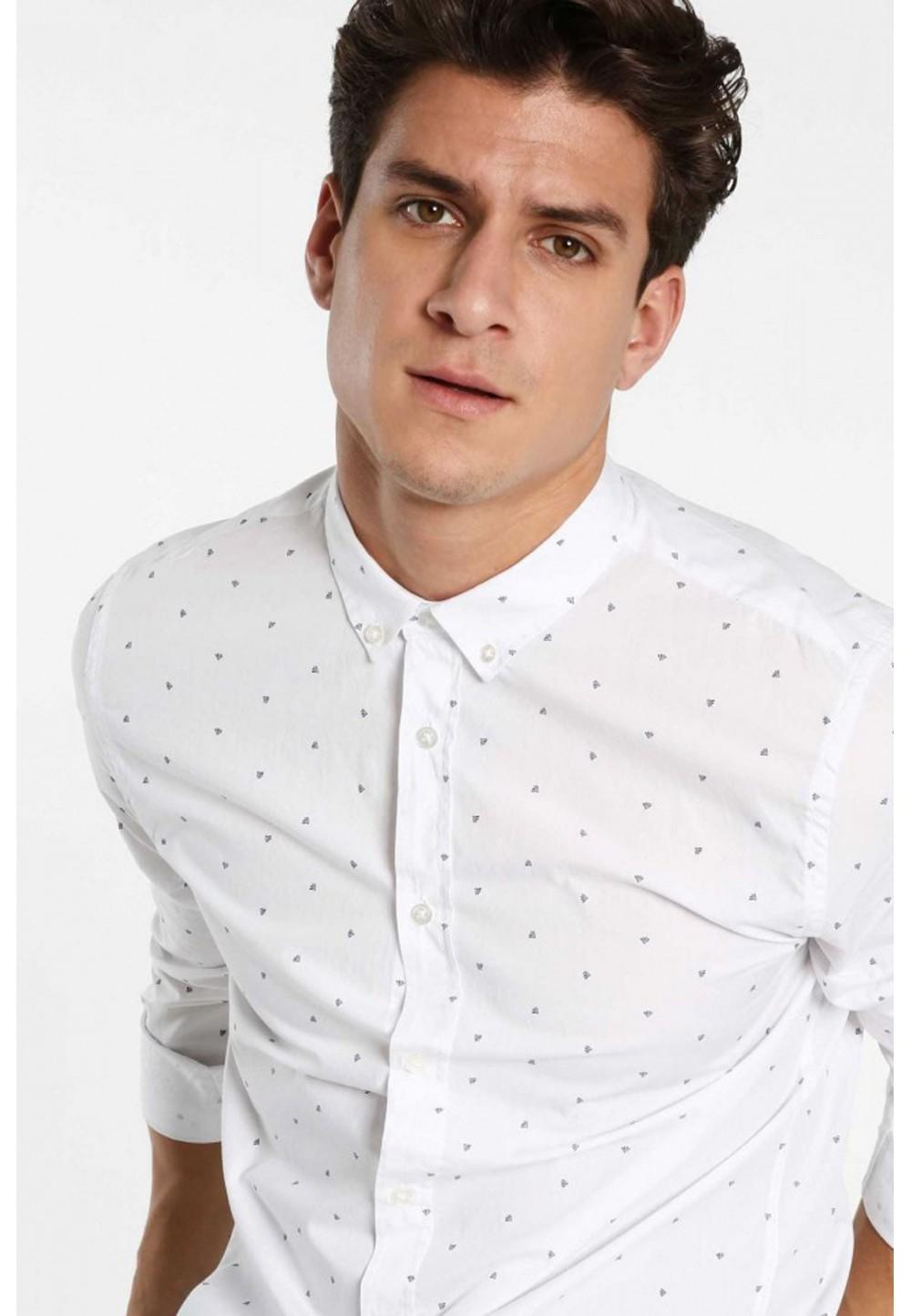 Белая рубашка с принтом