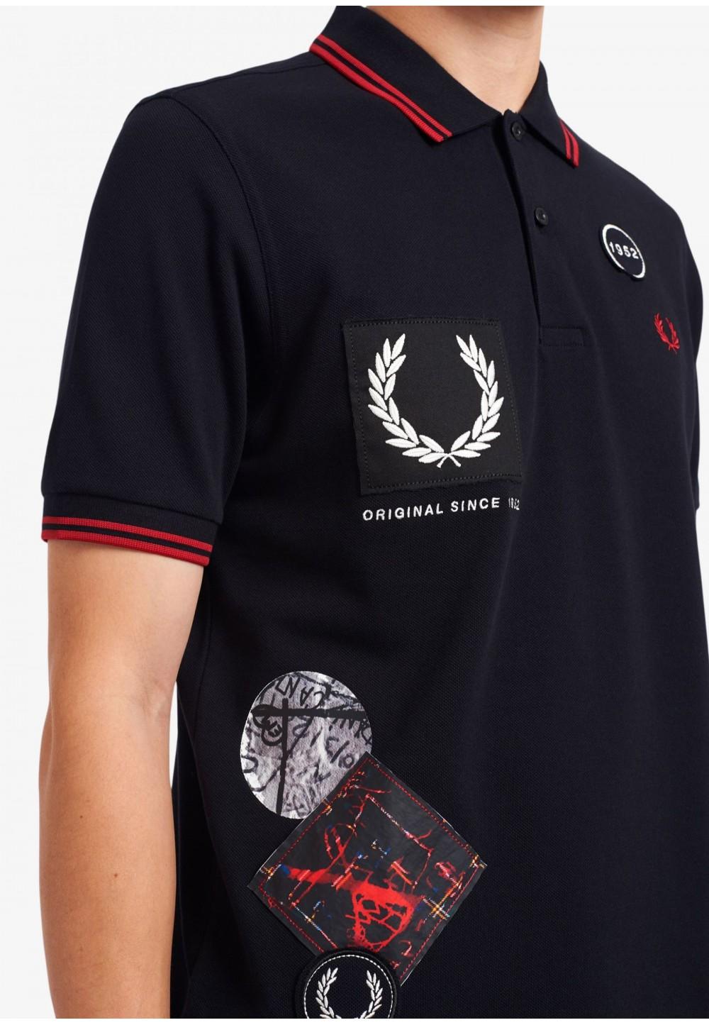 Рубашка -поло с графическим принтом и аппликацией