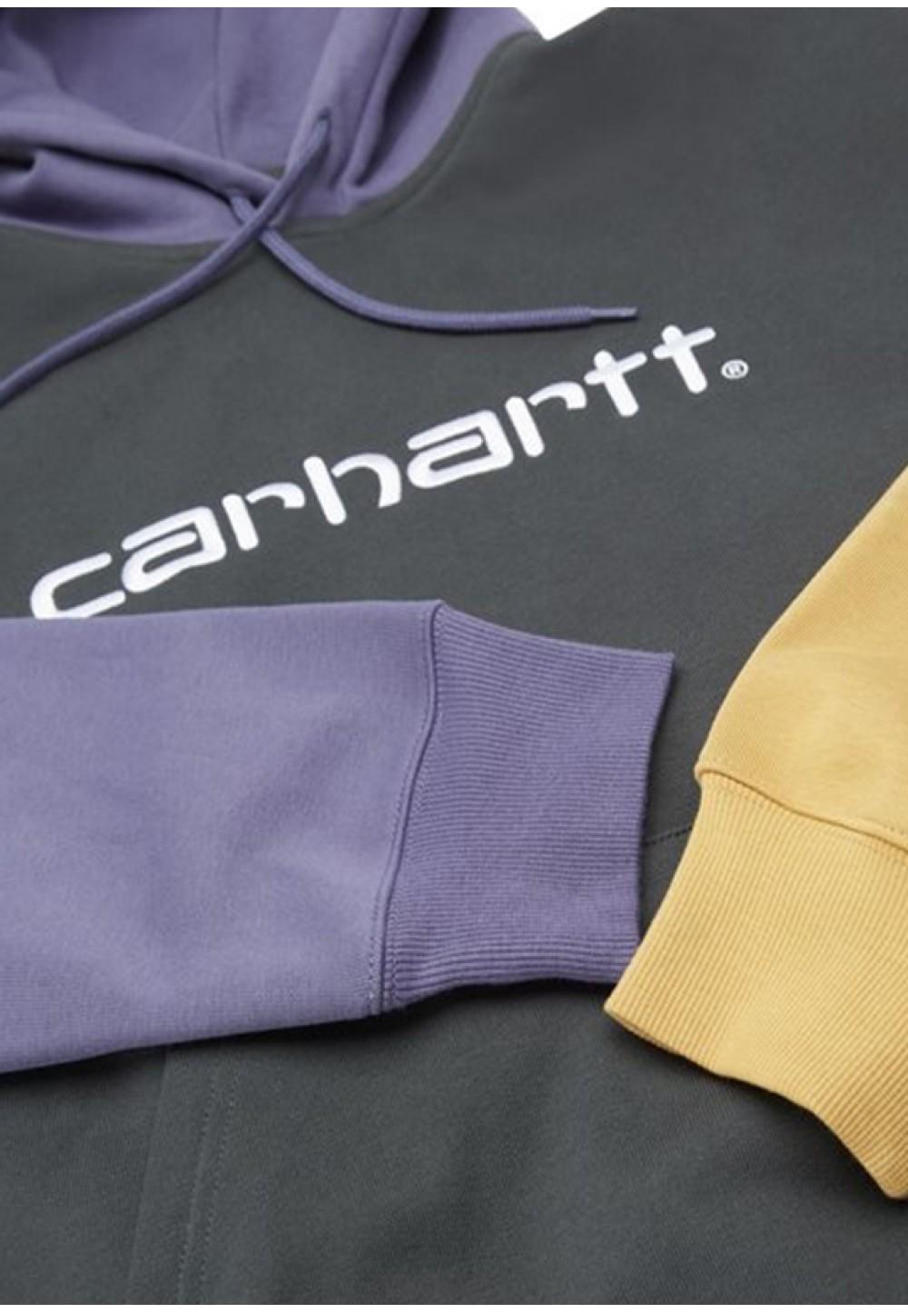 Теплий худі з капюшоном і кольоровими рукавами
