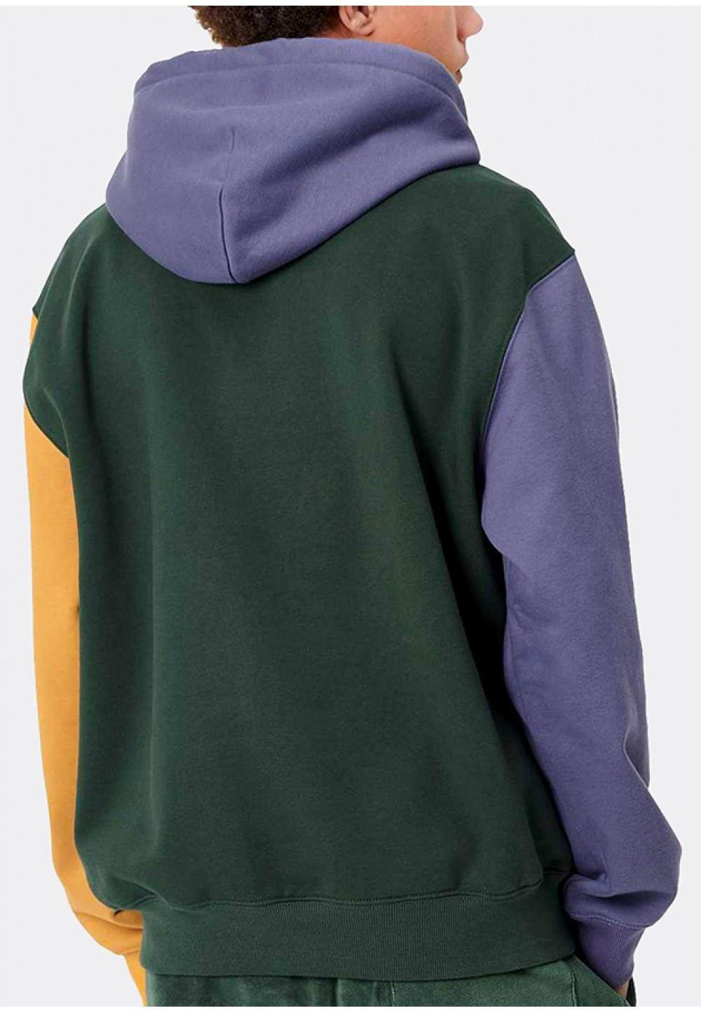 Теплый худи с капюшоном и цветными рукавами