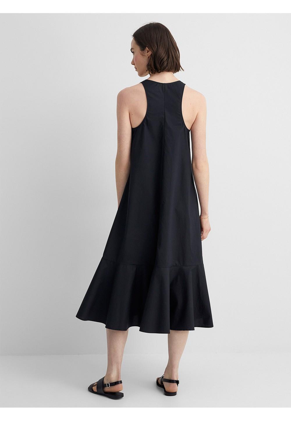 Чёрное женственное платье  ABIGALE с воланом