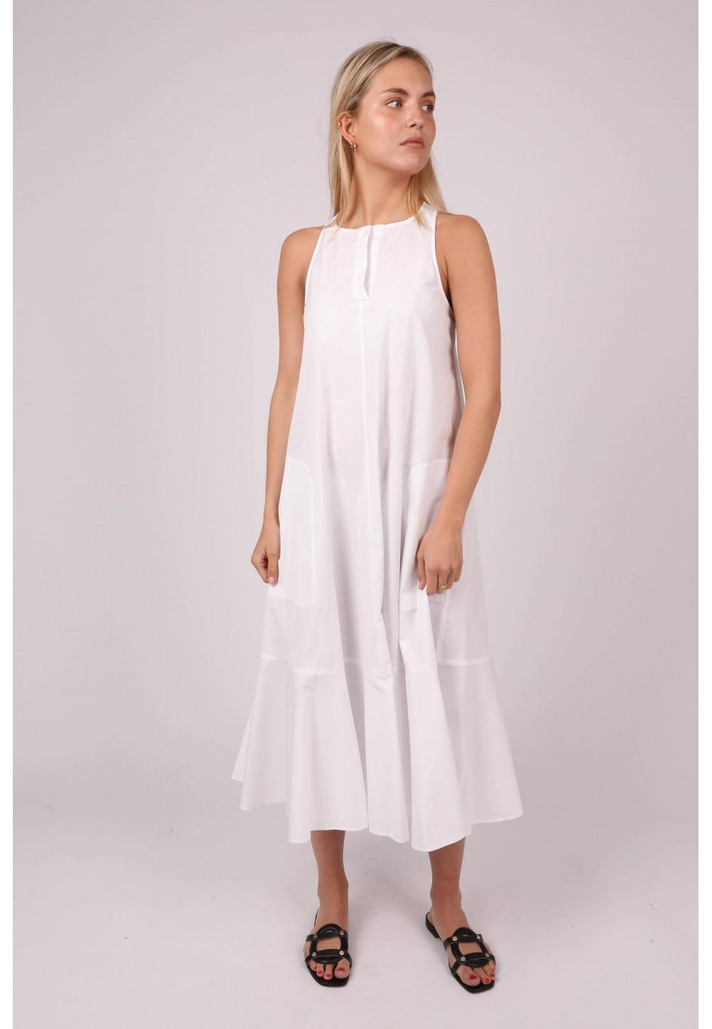 Білосніжна жіночня сукня ABIGALE з воланом
