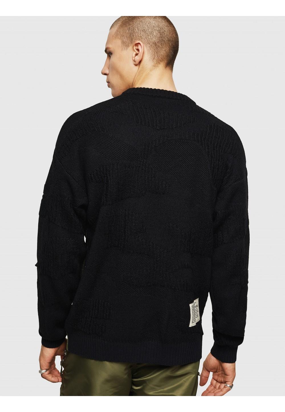 Пуловер из фактурного трикотажа с камуфляжем