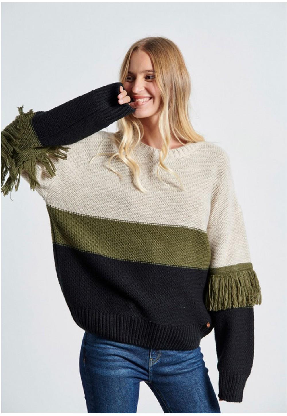 Теплый полосатый свитер