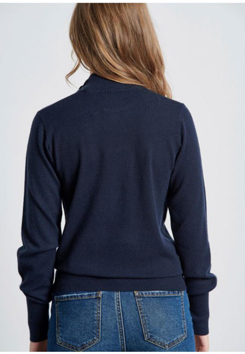 Синій жіночий гольф із зав'язками на комірі-стійці