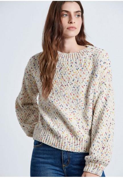 Вязаный свитер с воротником-лодочкой
