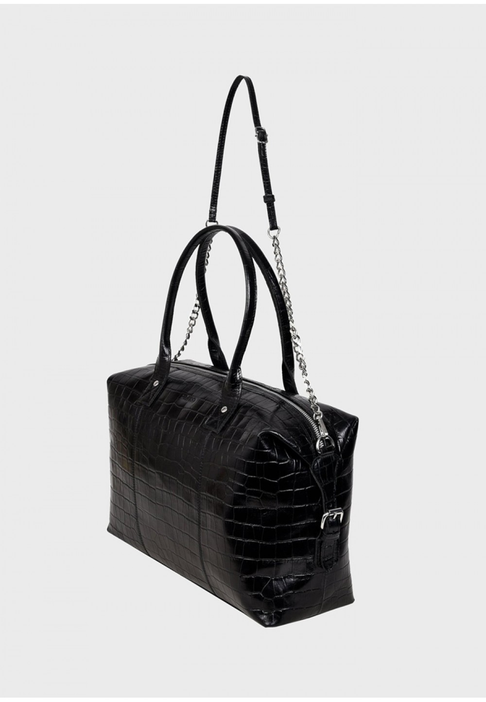 Шкіряна жіноча чорна сумка Bobby croco