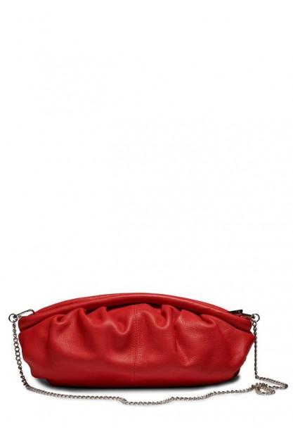 Стильна червона жіноча сумка Lin organic leather w. thin chain