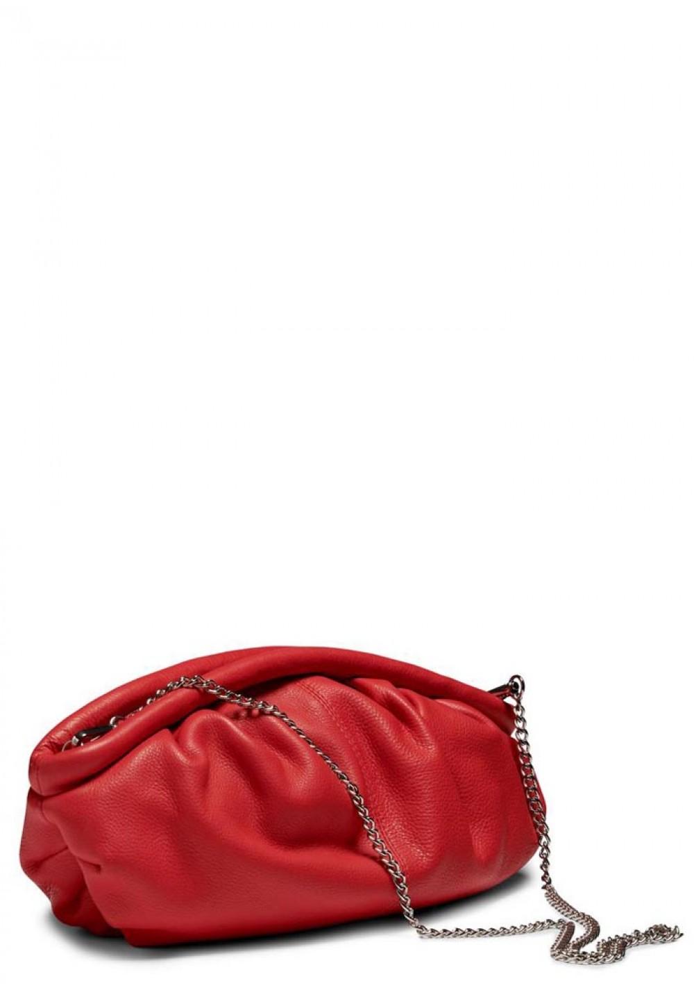 Стильная красная женская сумка Lin organic leather w. thin chain