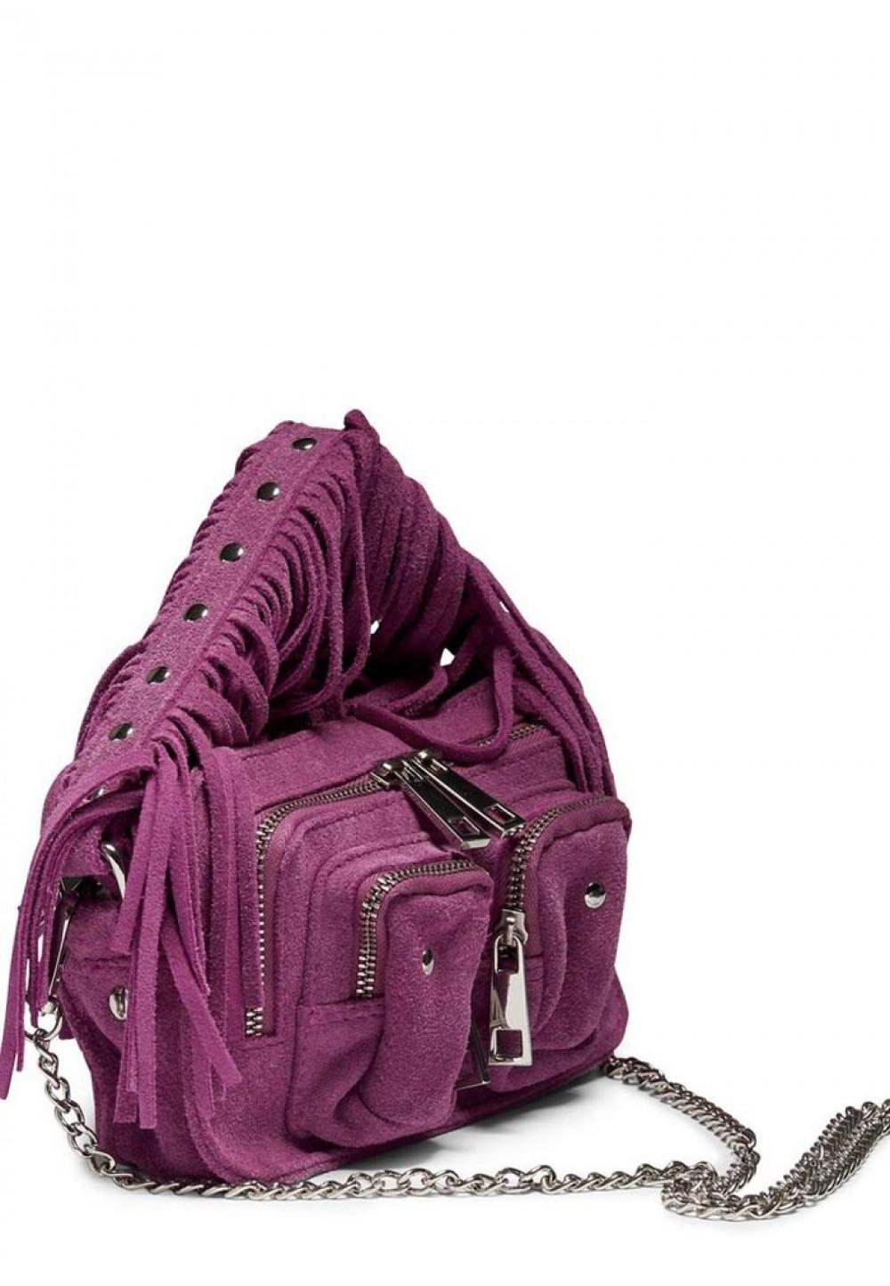 Яскрава жіноча сумка з бахромою Helena suede w. fringes rouge