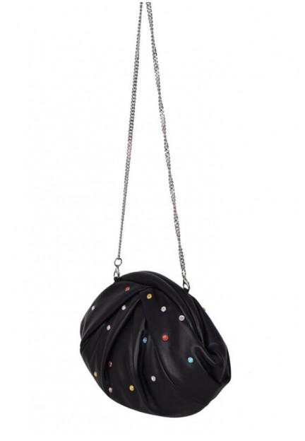 Черная женская сумка Saki black w. multi stones