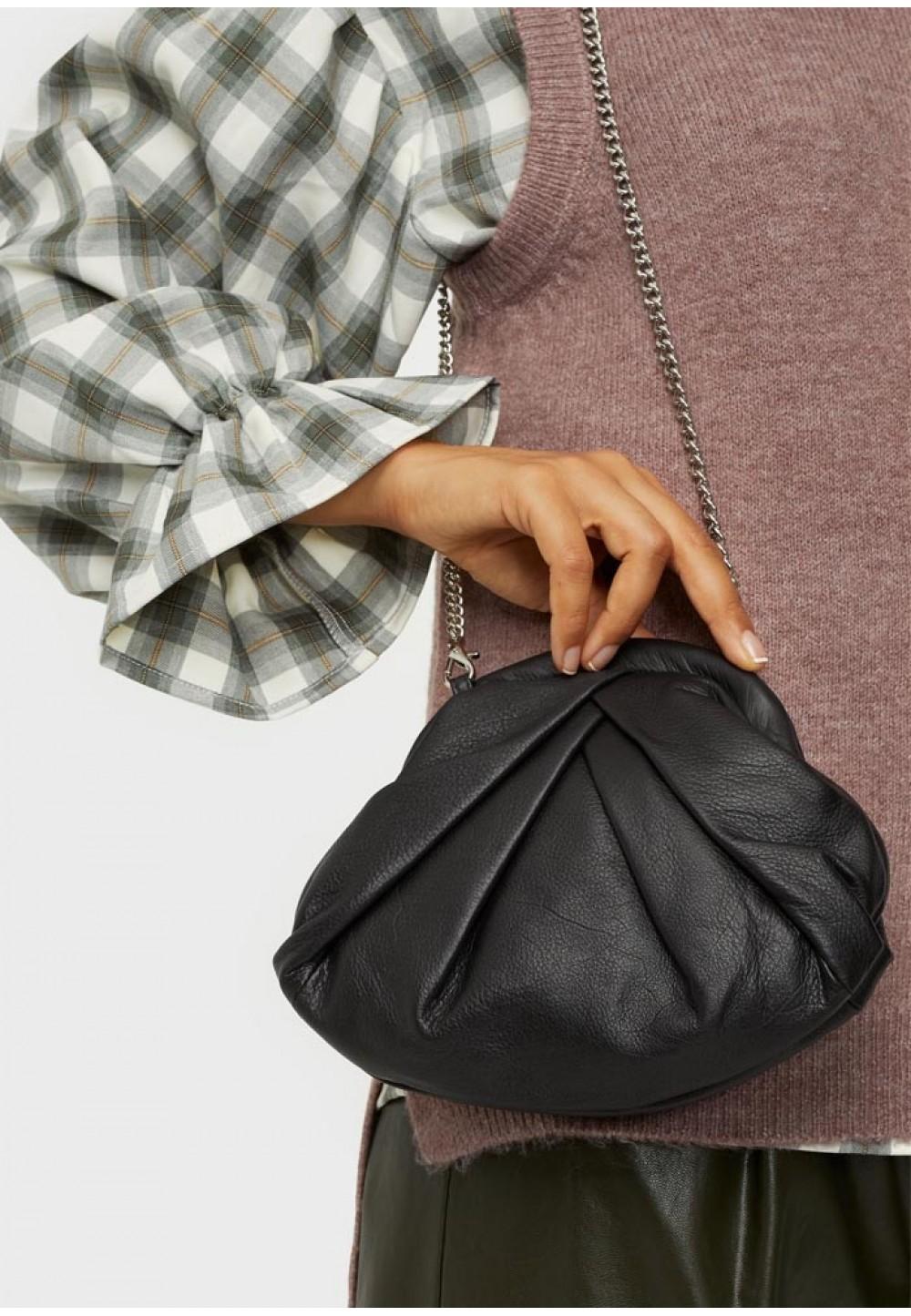 Черная женская сумка с узором Mini Saki silky