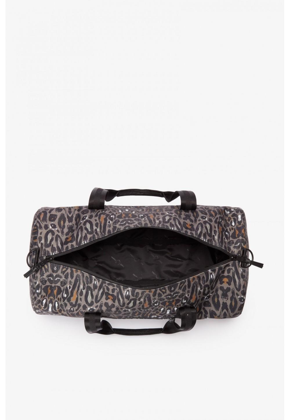Сумка-бочонок с леопардовым принтом