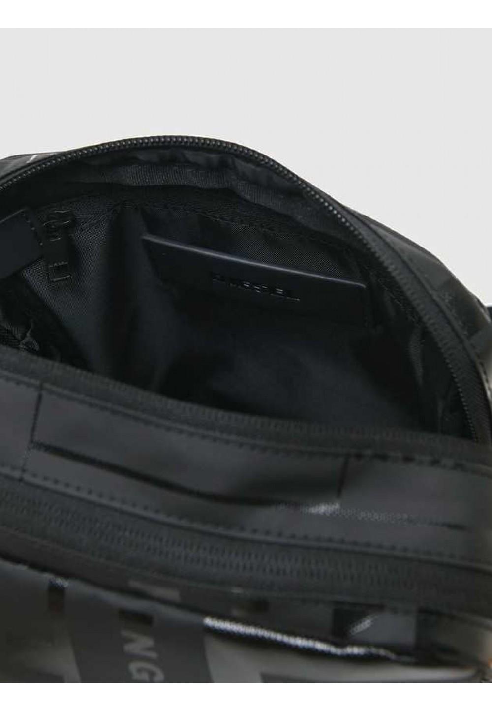 Сумка через плечо на двойной молнии с логотипом в тон