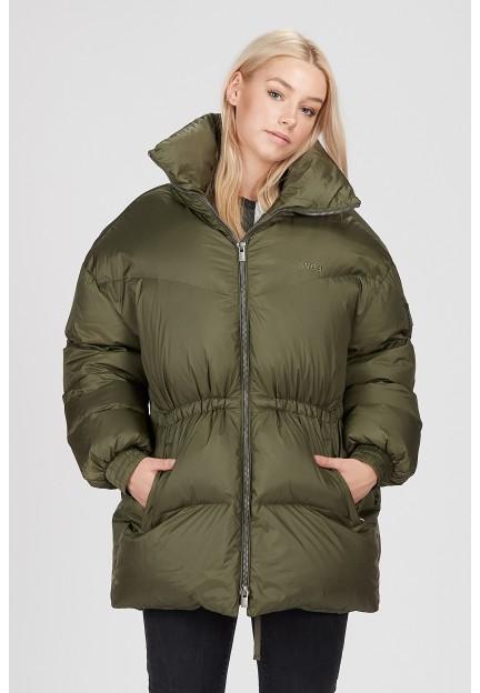Тепла куртка вільного крою кольору хакі