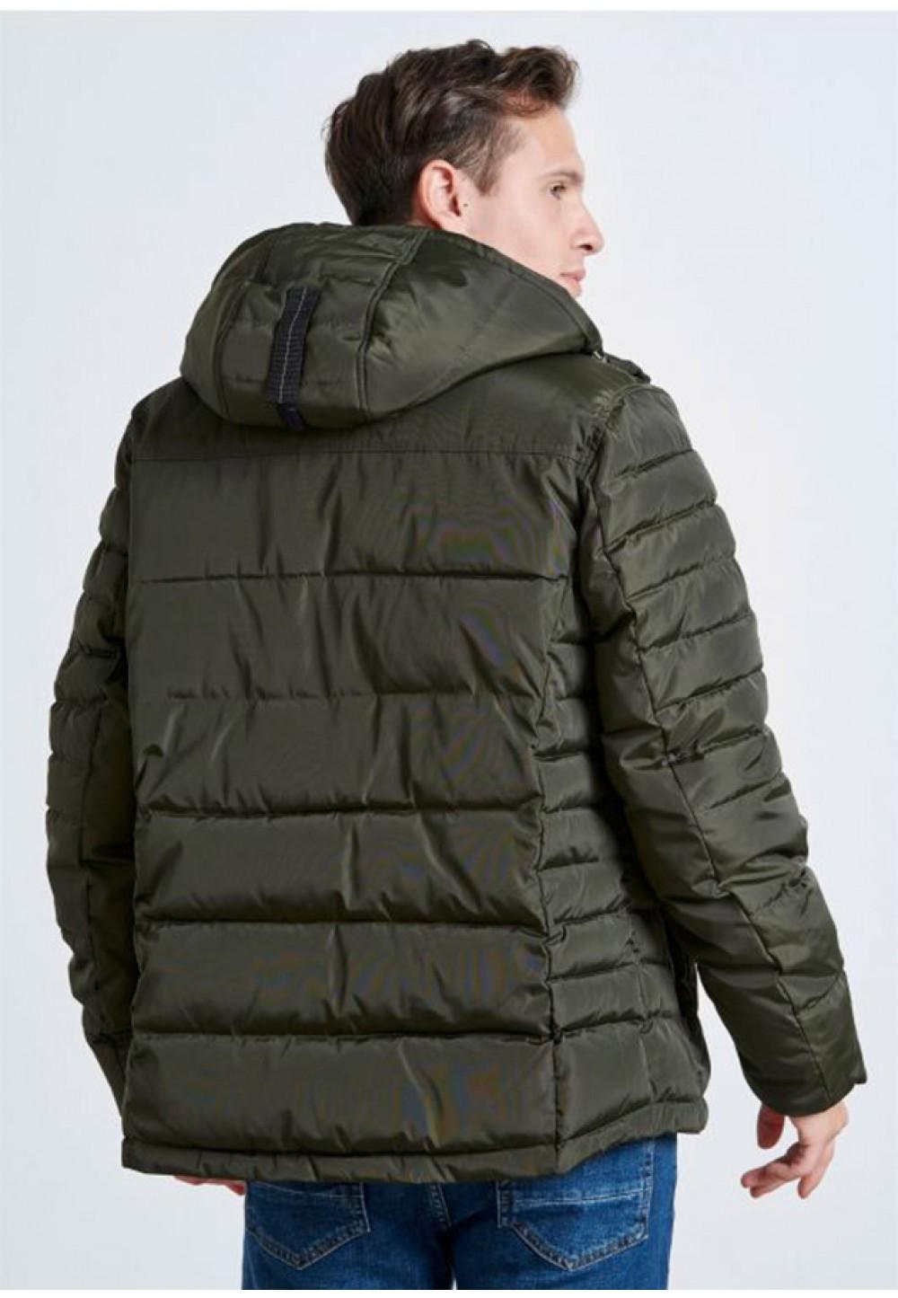 Стильная короткая куртка цвета хаки