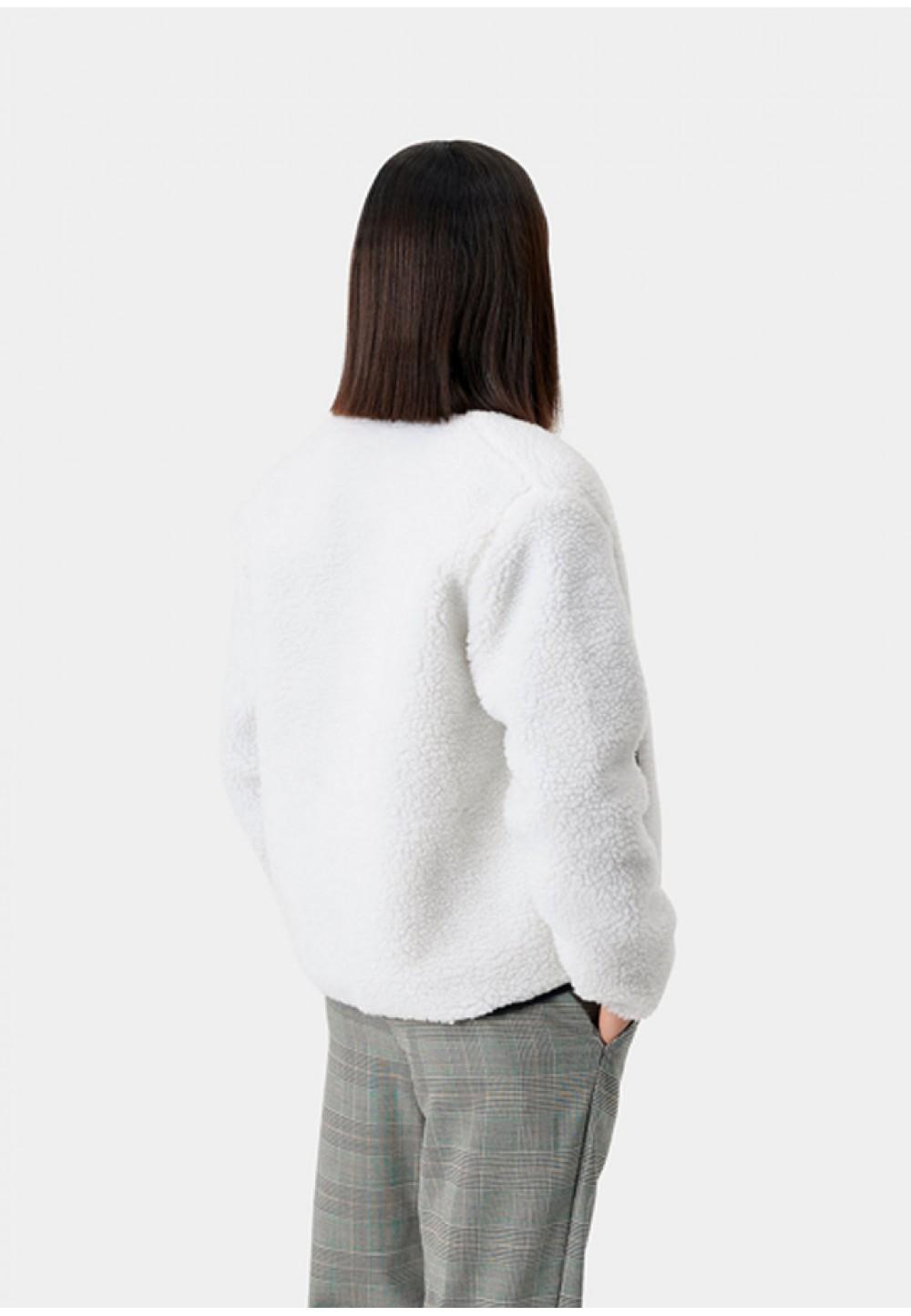 Стильная белая куртка с накладным карманом