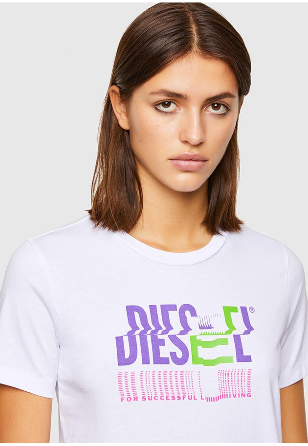 Хлопковая футболка с блестящим логотипом