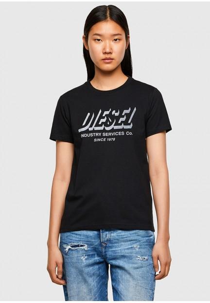 Стильна чорна футболка з принтом на грудях