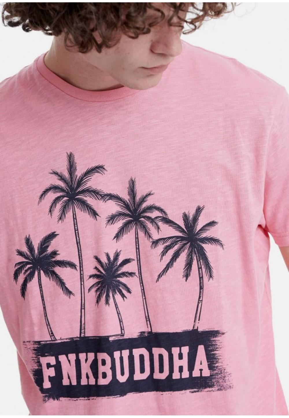 Футболка с пляжным принтом розовая