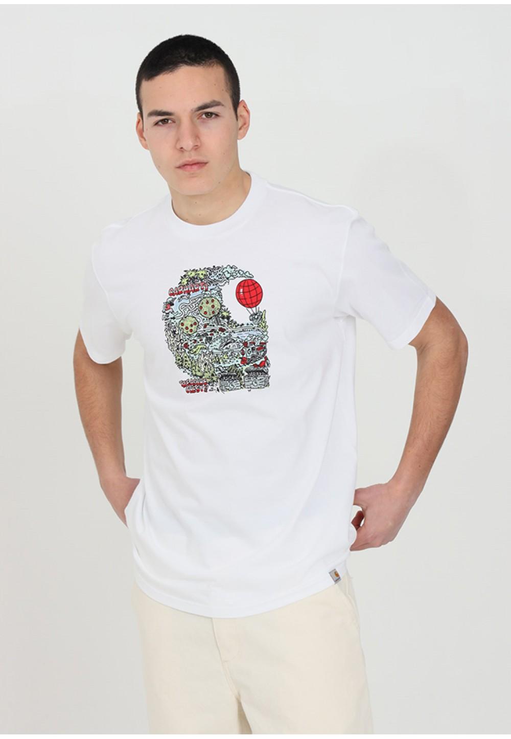 Біла бавовняна футболка з яскравим принтом