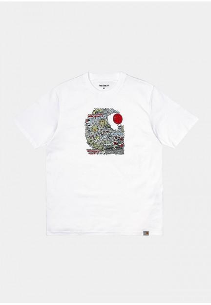 Белая хлопковая футболка с ярким принтом