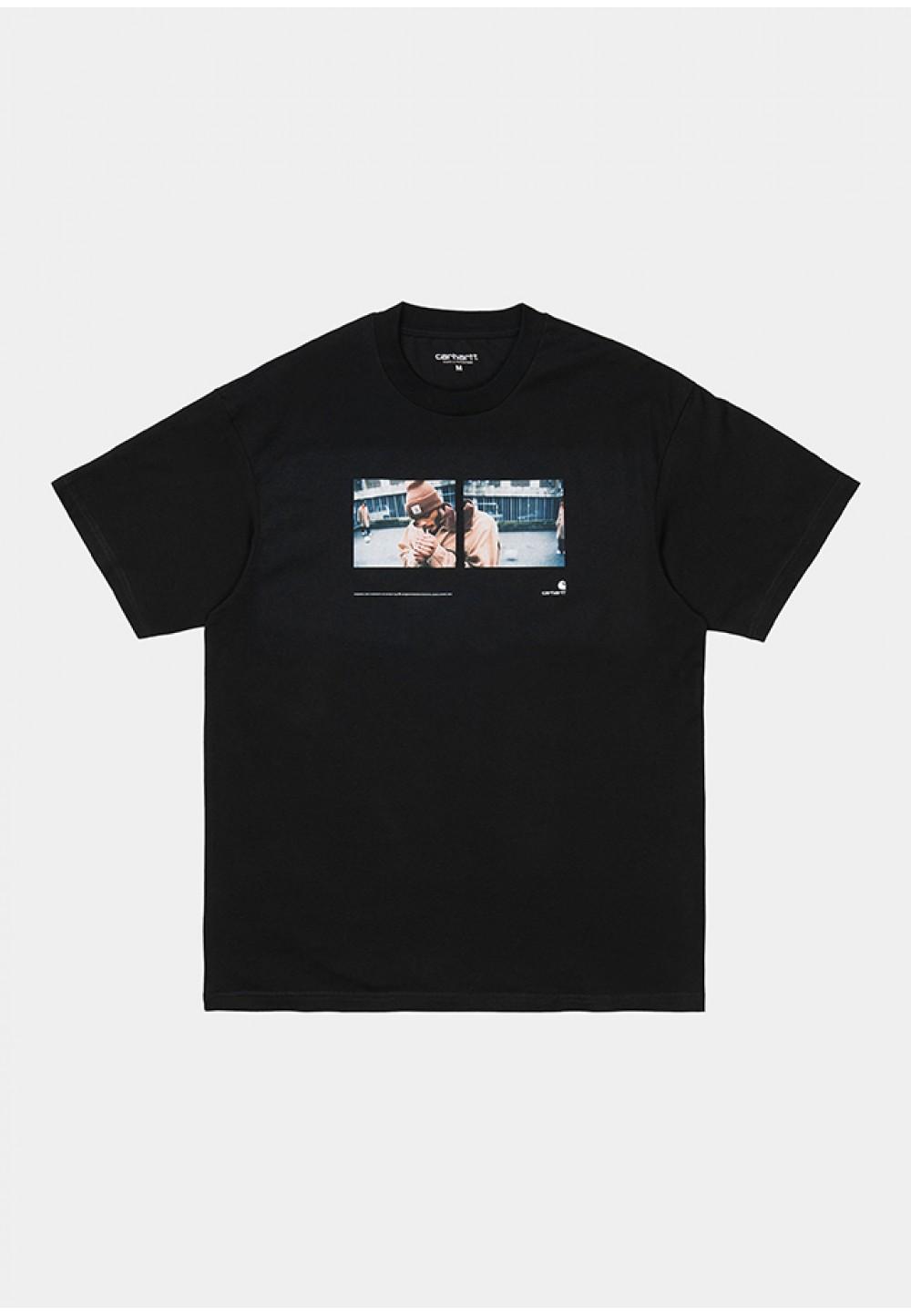 Черная хлопковая футболка с принтом