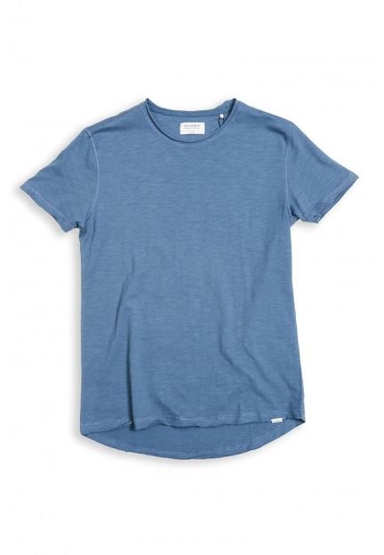 Бавовняна блакитна футболка з круглим вирізом