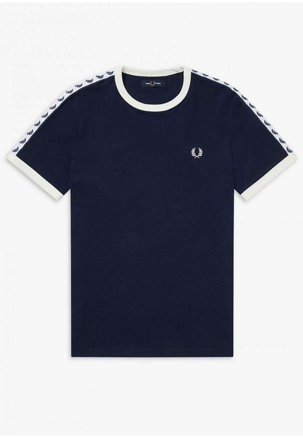 Синяя футболка с белыми вставками