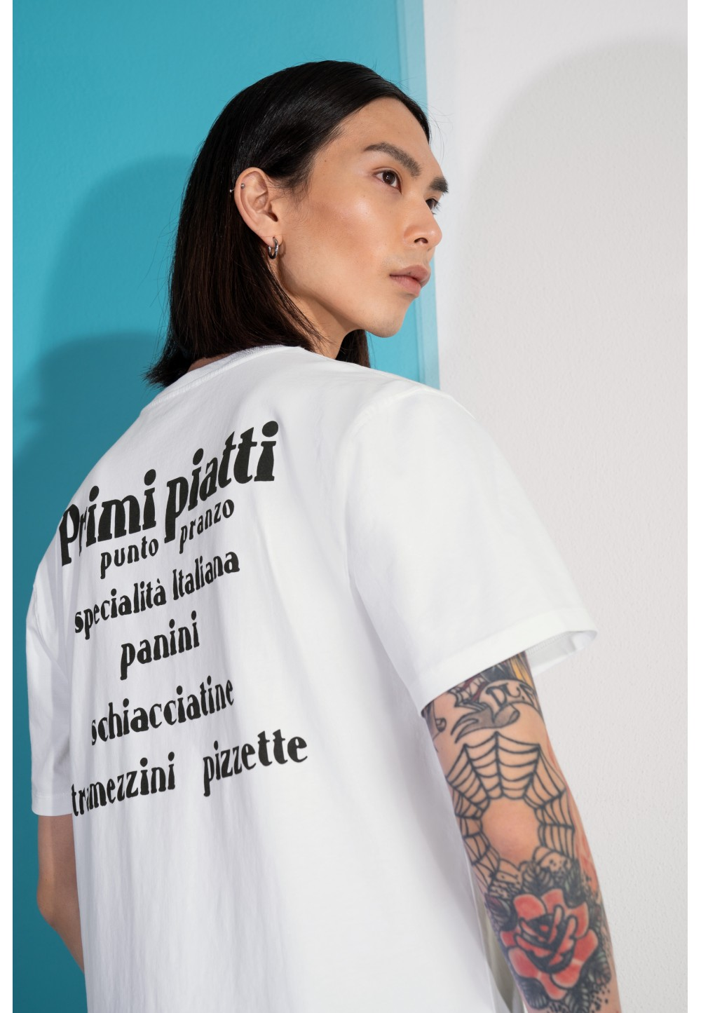 Чоловіча біла футболка SAMUEL_PASTA з принтом