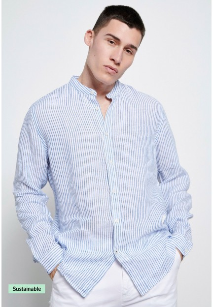 Мужская льняная рубашка в полоску