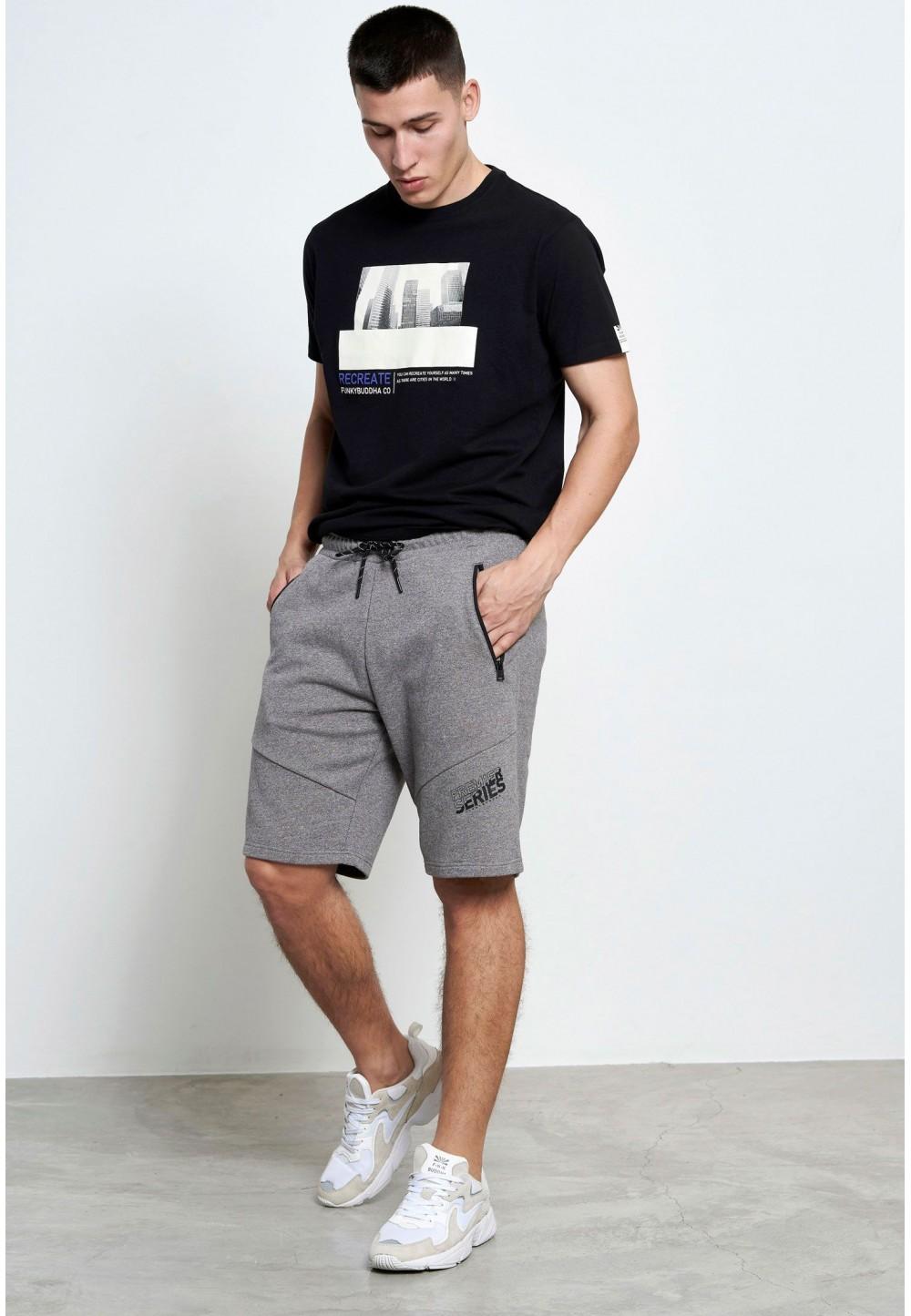 Мужские серые  шорты-джоггеры с карманами на молнии